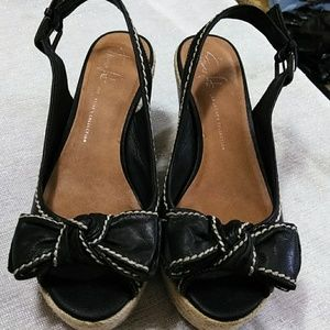 Franco Sarto, black leather wedges